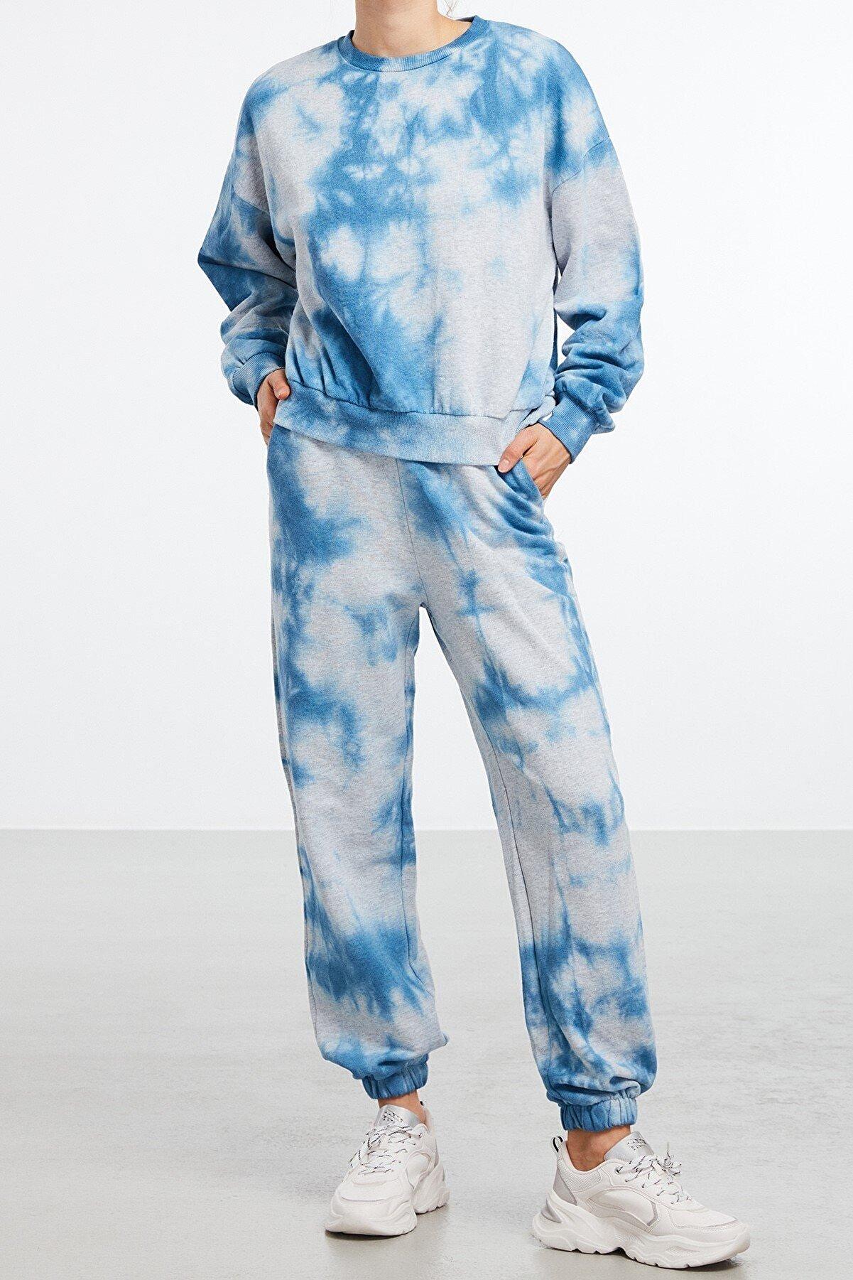 GRIMELANGE ULLA Kadın Mavi Yıkamalı Yuvarlak Yakalı Sweatshirt
