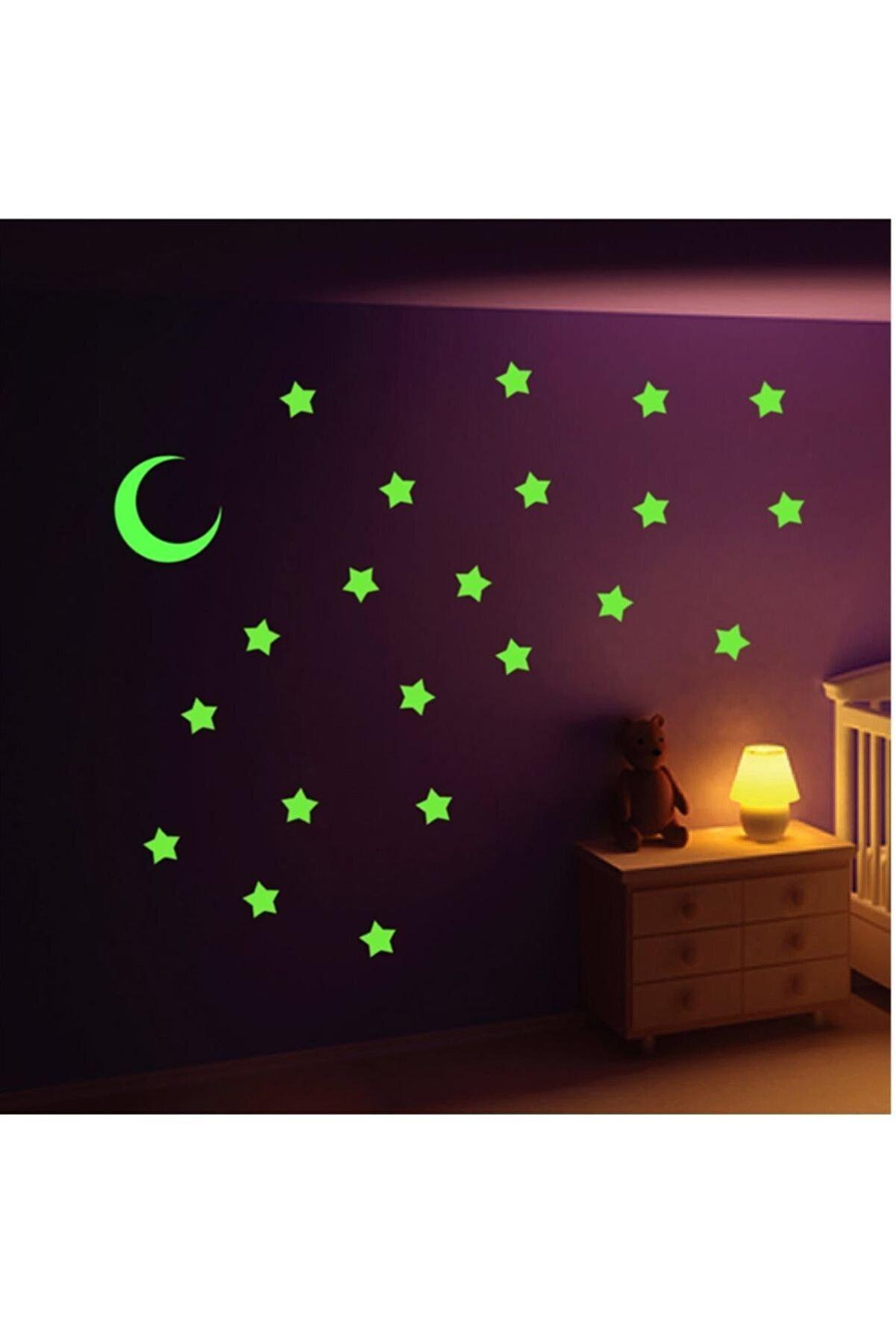 Huzur Party Store Fosforlu Parlak Yıldız Çıkartma Sticker Ay Yıldız Tavana Yapıştırmalı 12 Parça Kurban Bayramı Süsü