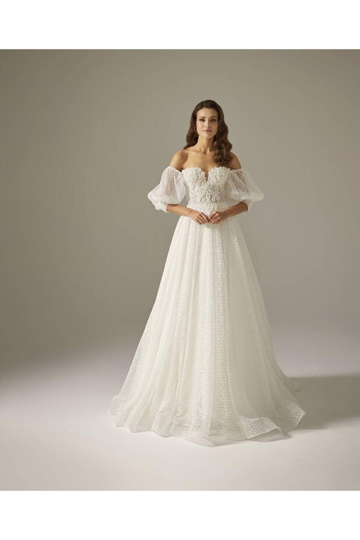 Mediha Cambaz Bridal Aırlıne Petek Detaylı Simli Transparan Bedenli Barok Dantelli Gelinlik