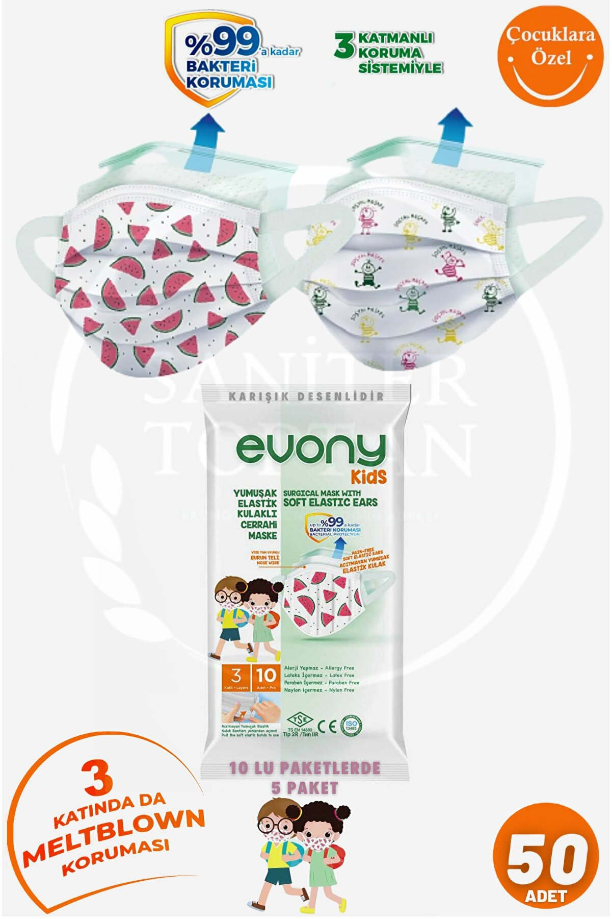 Evony Kids Cerrahi Maske 10 Lu 5 Paket = 50 Adet