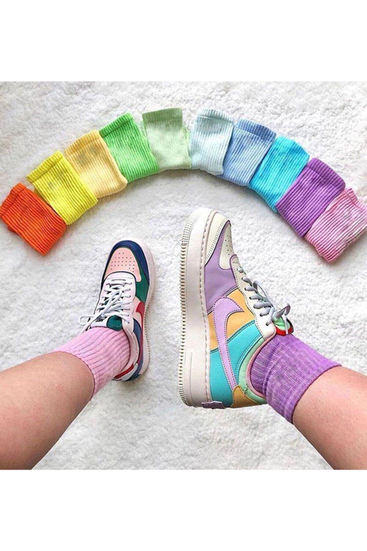 SOYTEMİZ ÇORAP Unisex Çok Renkli Kolej Çorap Düz 10 Çift