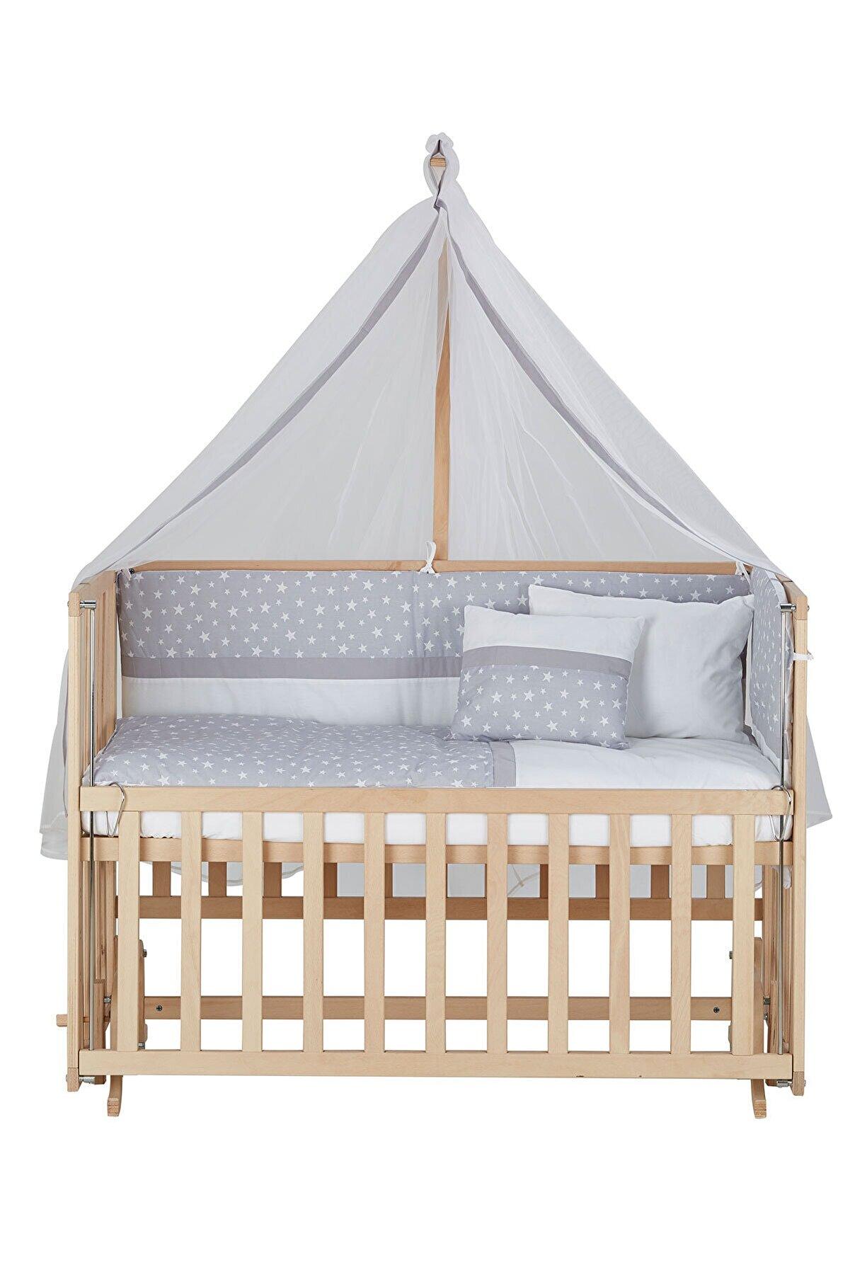 Babycom Anne Yanı Doğal Boyasız Ahşap Kademeli Beşik 70x130 + Gri Yıldızlı Uyku Seti