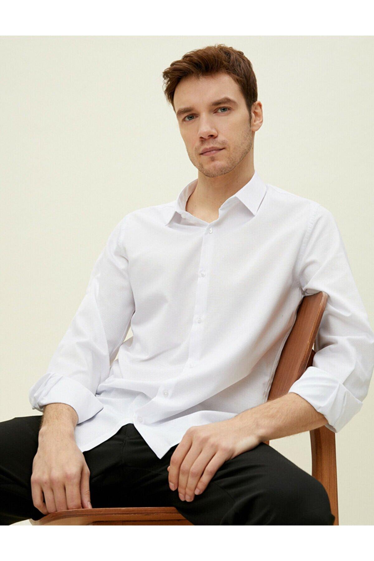 Koton Klasik Yaka Pamuklu Uzun Kollu Gömlek