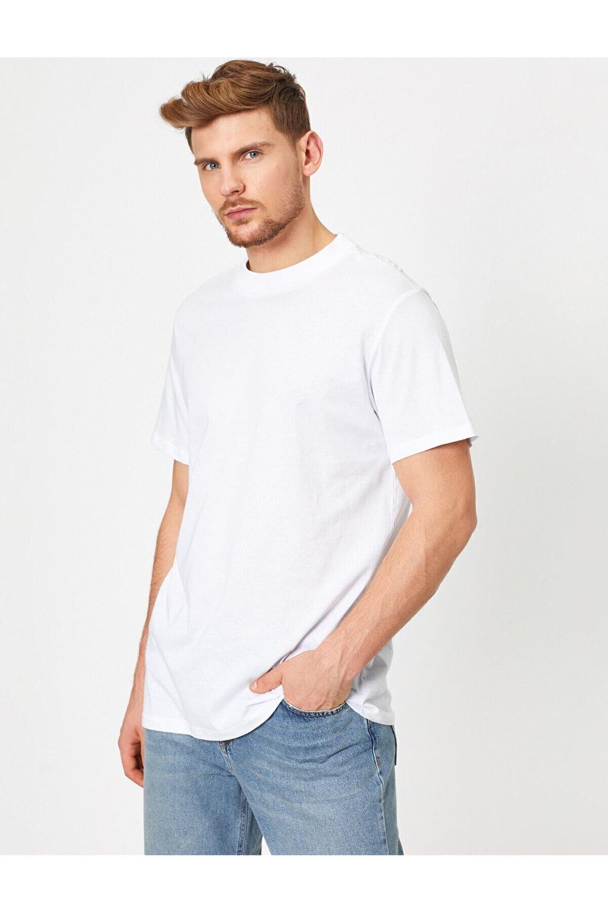 Koton Erkek Beyaz Yazili Baskili T-Shirt 0YAM12095LK