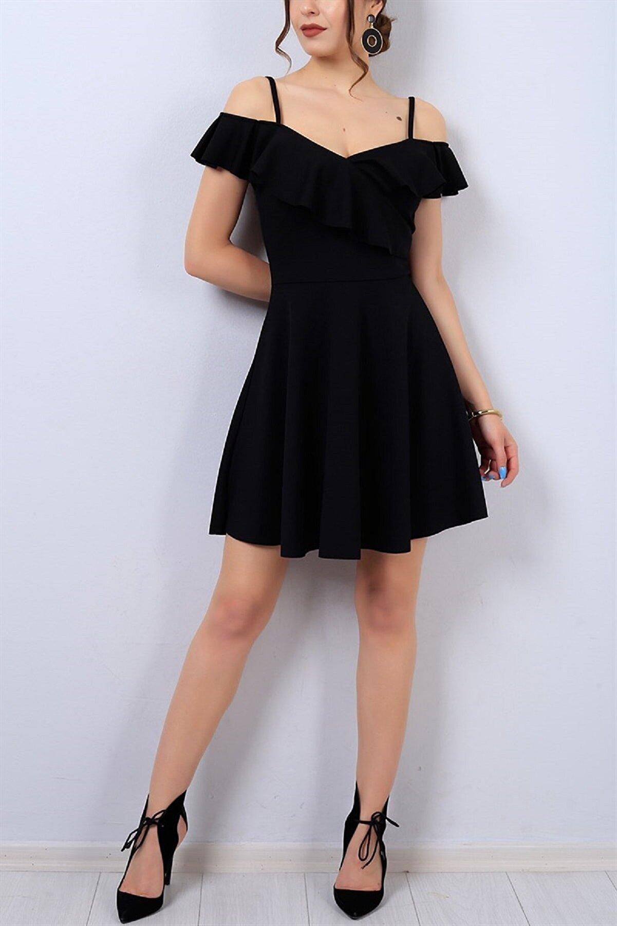 tknfashion Esnek Krep Kumaş Yakası Volan Detaylı Ince Askılı Kiloş Siyah Abiye Elbise Gece Elbisesi