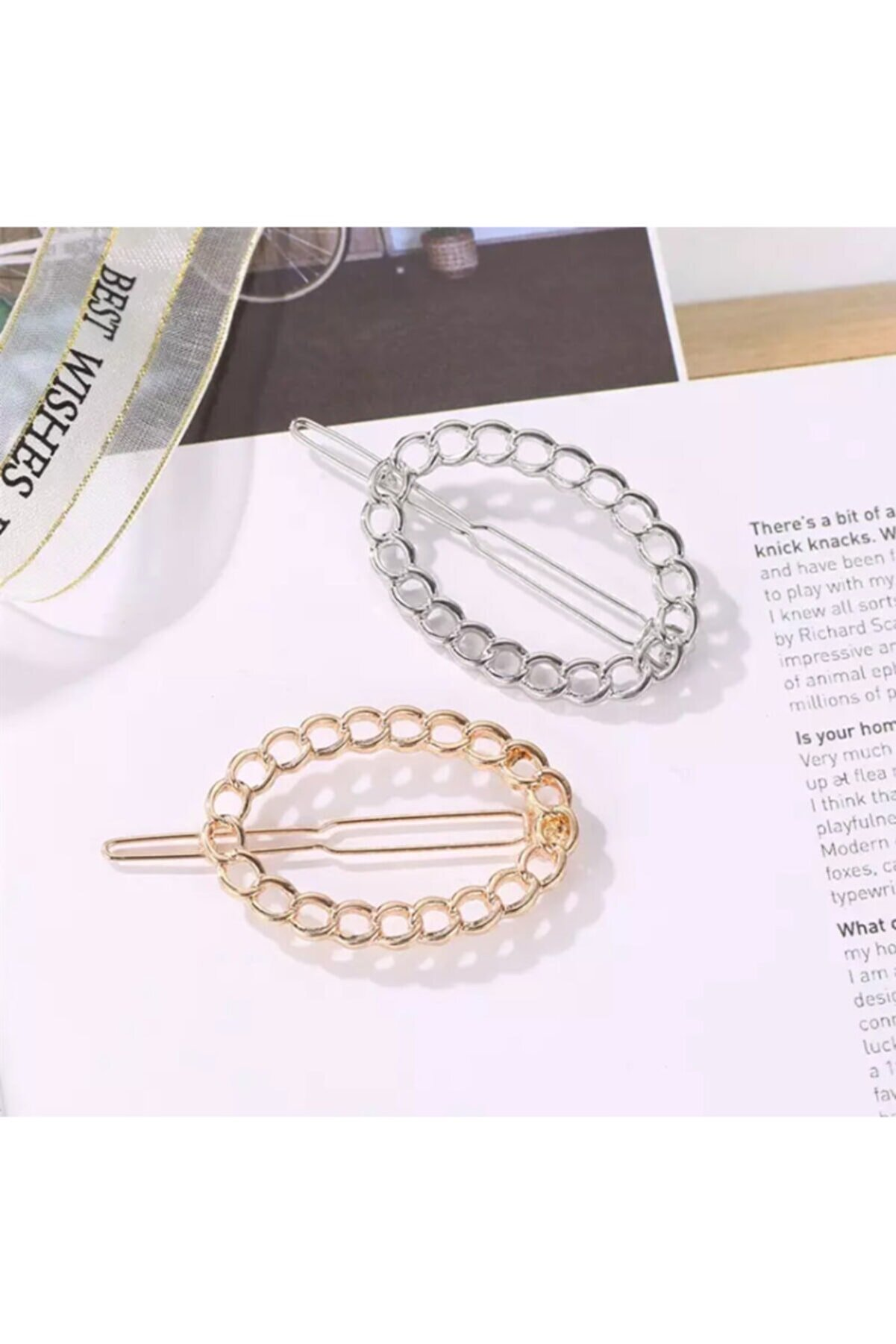 Mingy 2 Adet Klipsli Zincir Elips Tasarım Saç Tokası, 2'li Metal Toka Seti Gümüş/gold