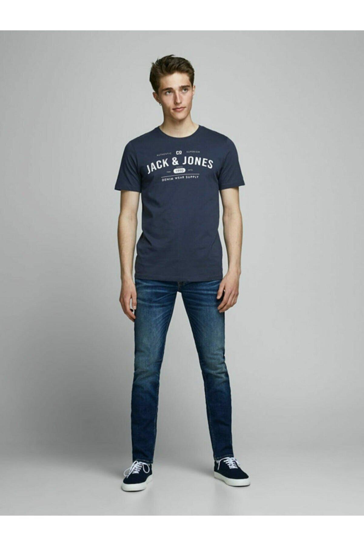 Jack & Jones Bisiklet Yaka Kısa Kol Slim Fit Baskılı Mavi Erkek T-shirt