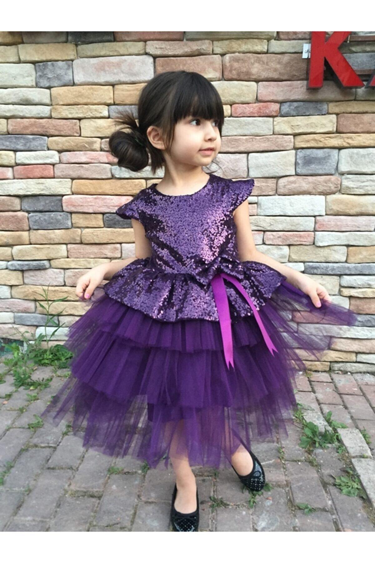 MiniBal Mürdüm Pul Payet Tütülü Kız Çocuk Parti Elbisesi