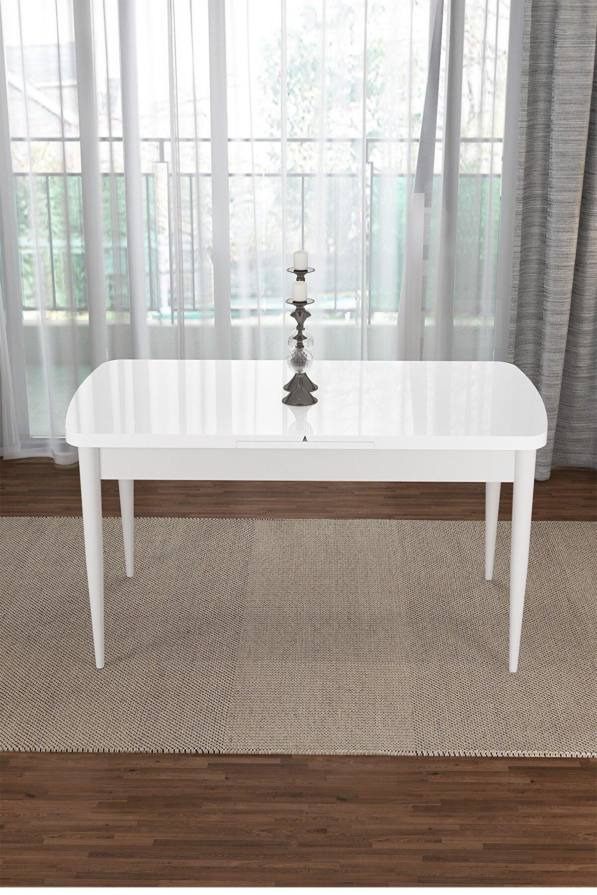 Canisa Concept Via Serisi Beyaz 1.sınıf Açılabilir Mutfak Masası-yemek Masası-beyaz Via
