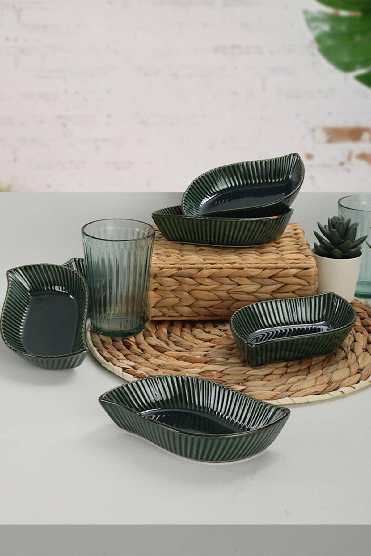 Keramika Zümrüt Yaprak Rolyefli Çerezlik / Sosluk 17 Cm 6 Adet