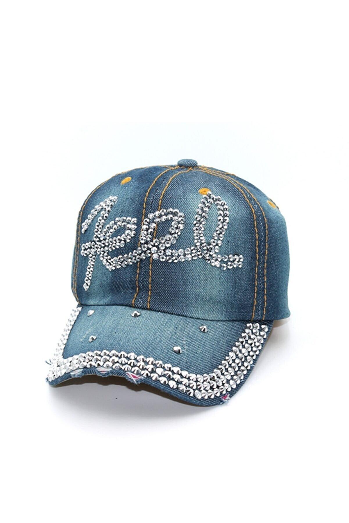 cappello Taş Işlemeli Yazılı Kadın Kot Şapka - Capfelr003