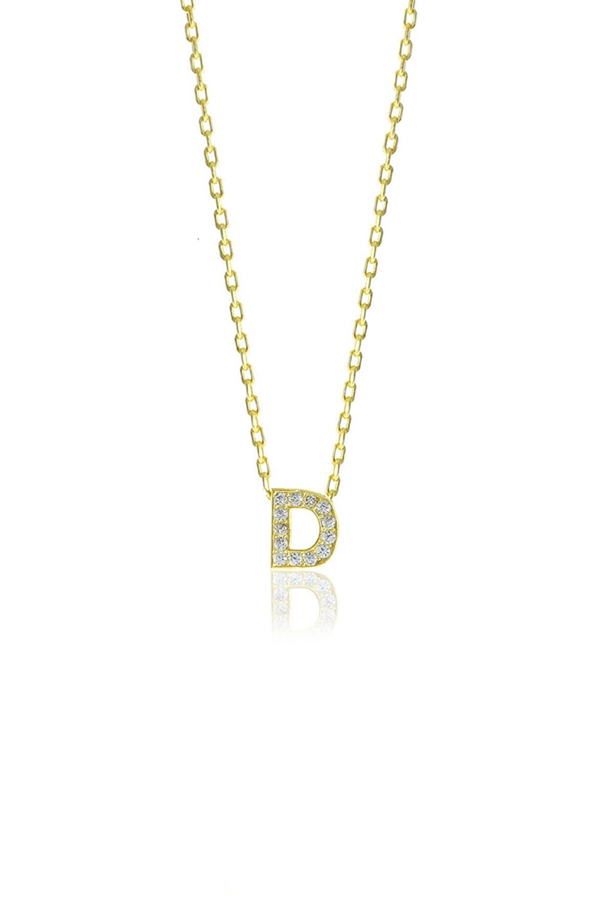 Söğütlü Silver Gümüş  Altın Yaldızlı Üç Boyutlu Minimal D Gümüş Harf Kolye