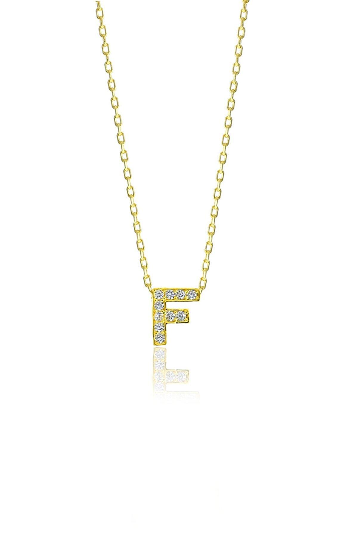 Söğütlü Silver Gümüş  Altın Yaldızlı Üç Boyutlu Minimal F Gümüş Harf Kolye