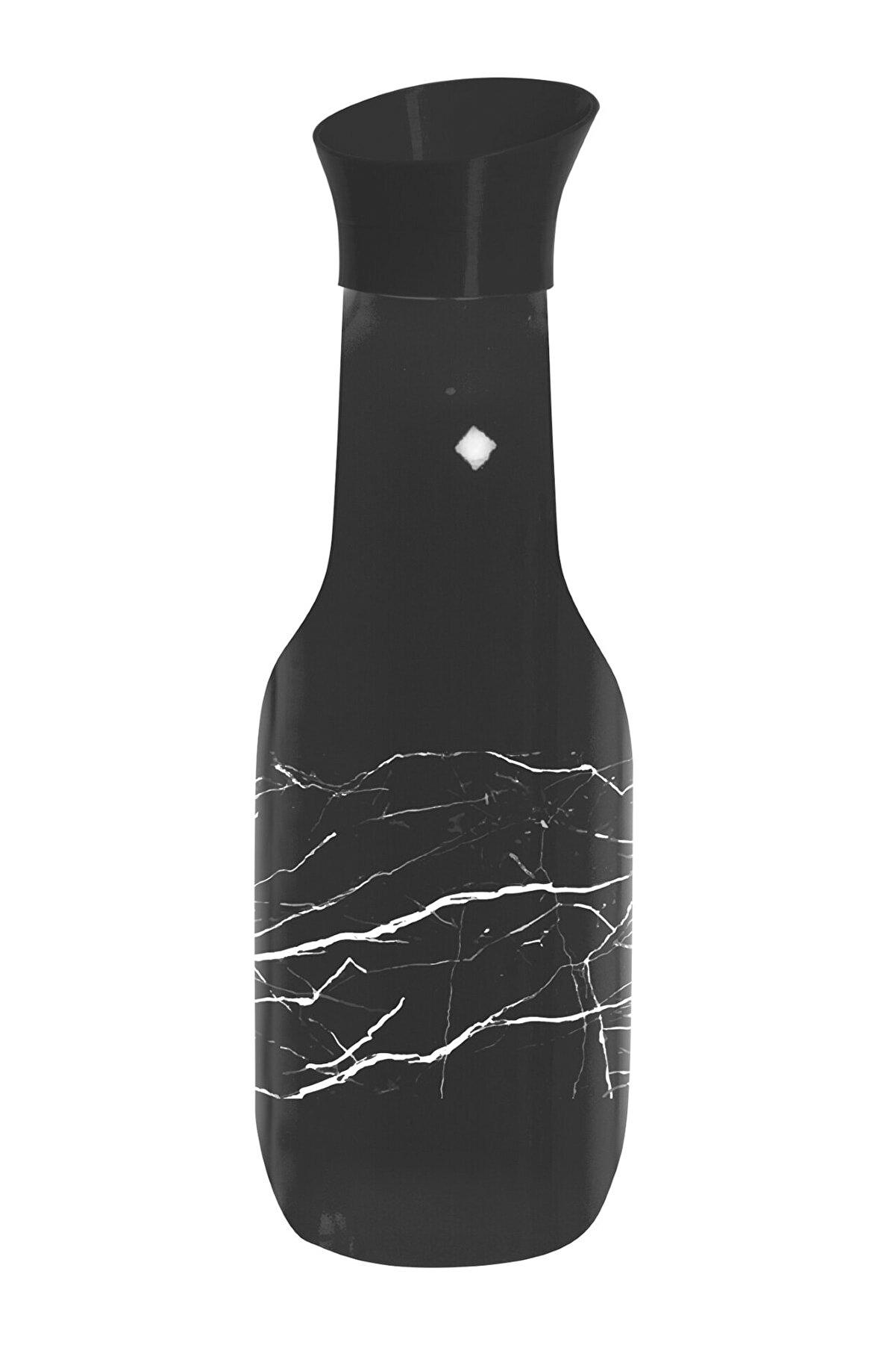 krommet Herevin 1 Lt Siyah Renkli Ve Mermer Desen Baskılı Karaf Su Şişesi