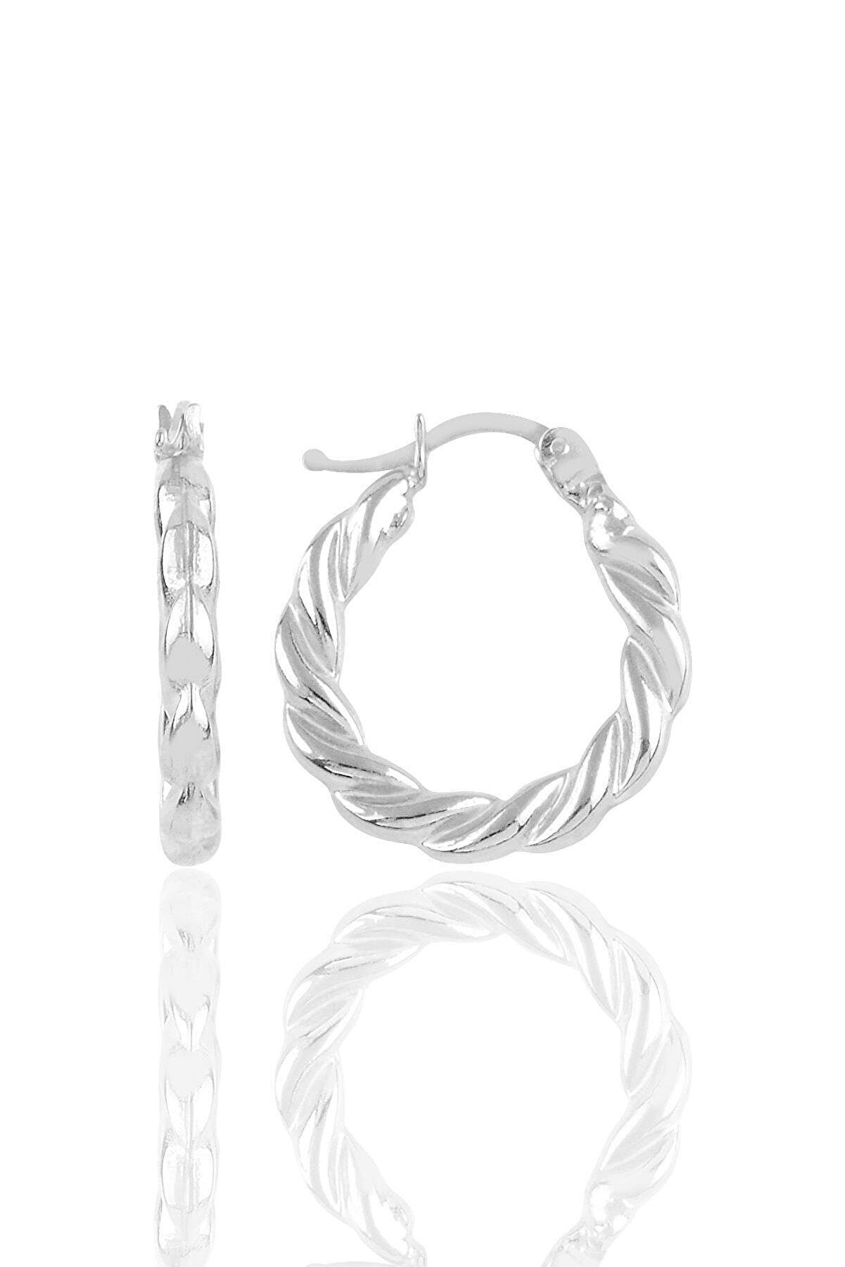 Söğütlü Silver Gümüş Kalın Burgu Gümüş Şarnel Küpe
