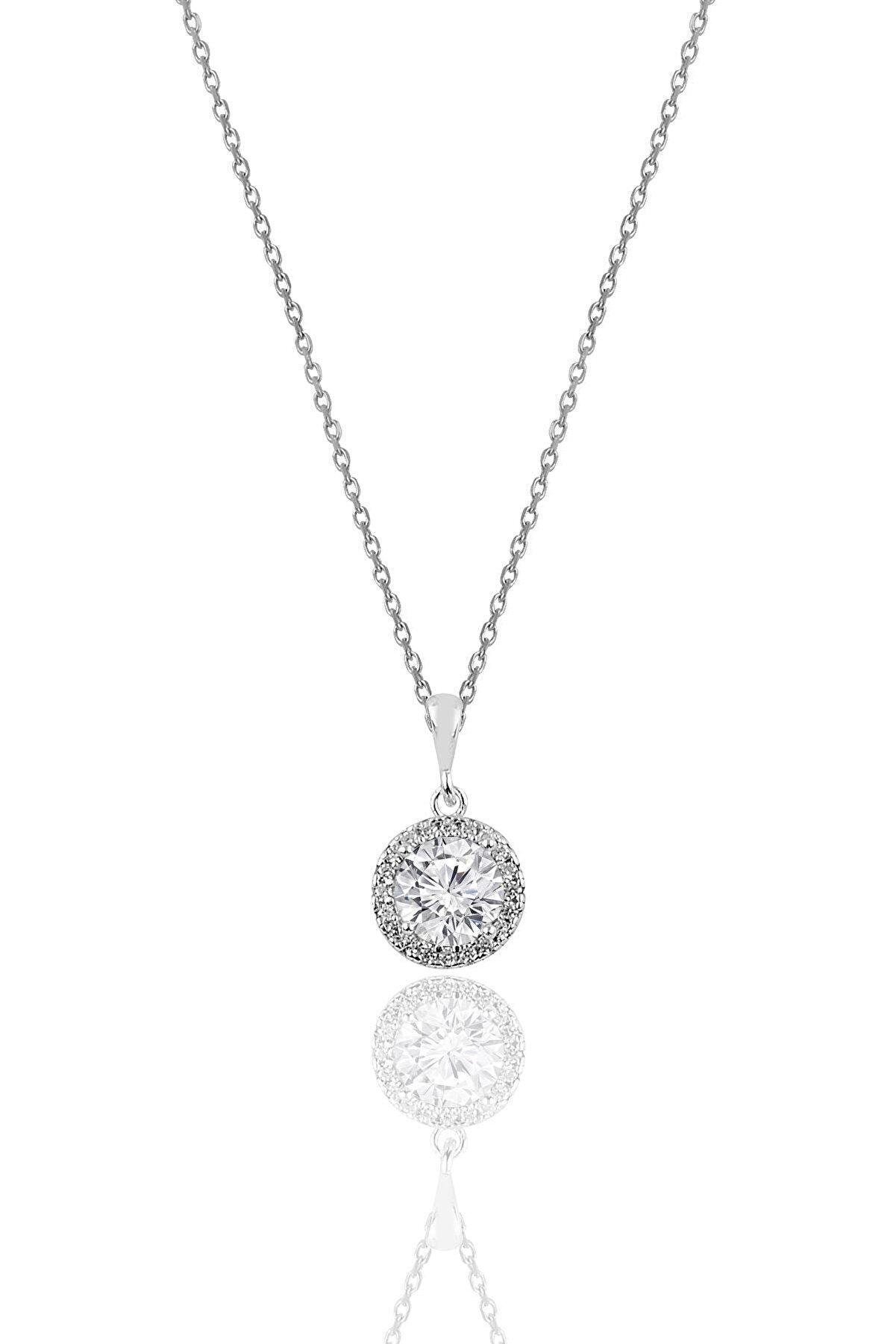 Söğütlü Silver Gümüş Zirkon Taşlı Yuvarlak Pırlanta Montürlü Gümüş Kolye