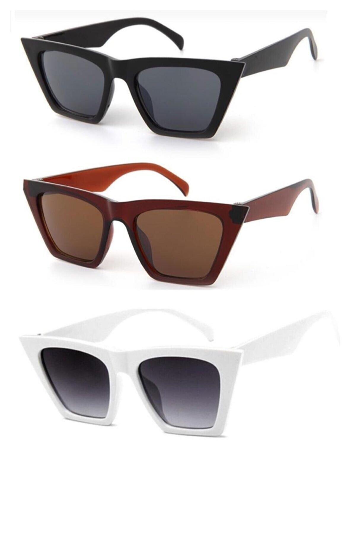 Modalucci Kadın Beyaz Kombin Set Güneş Gözlüğü 3'lü