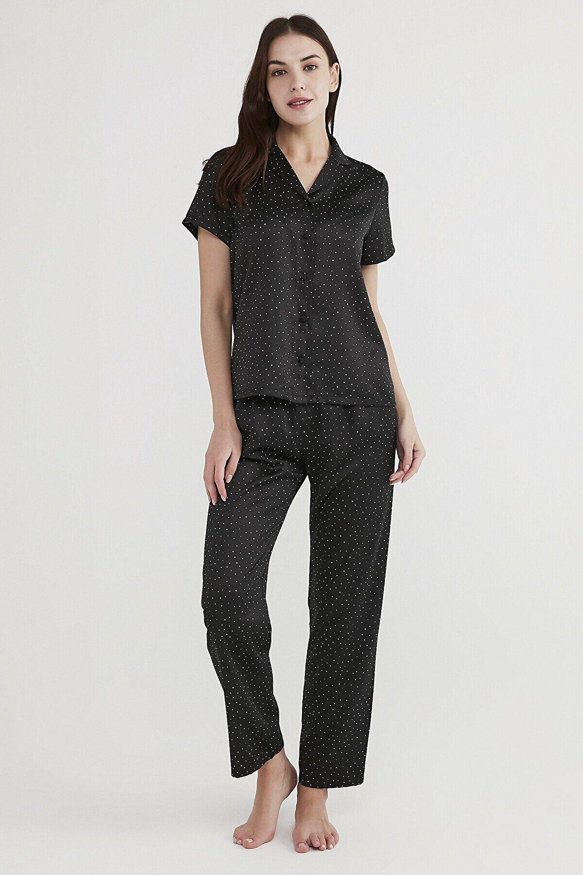 Penti Minimal Dark Saten Pijama Takımı