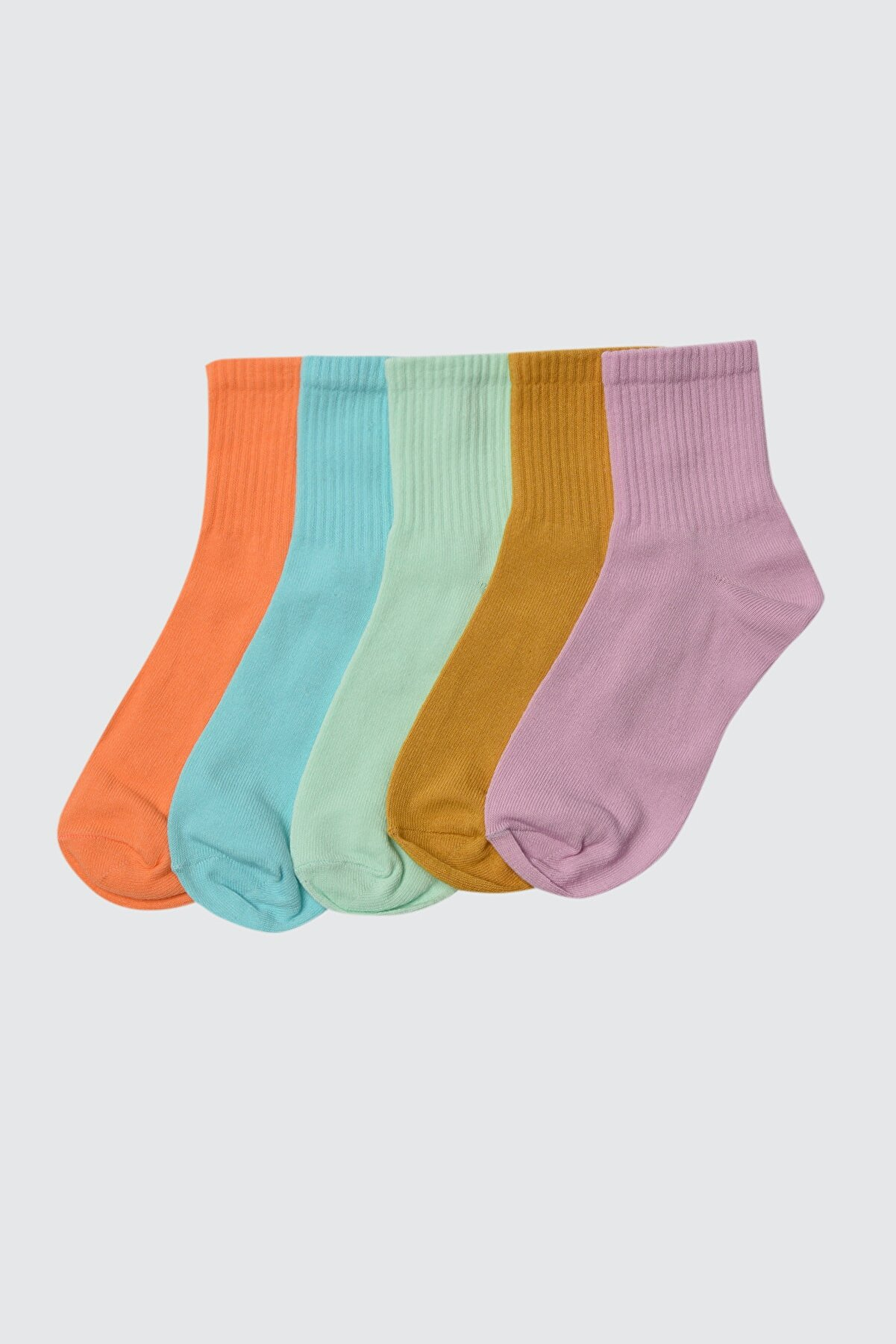 TRENDYOLMİLLA Çok Renkli 5'li Paket Örme Çorap TWOSS21CO0015