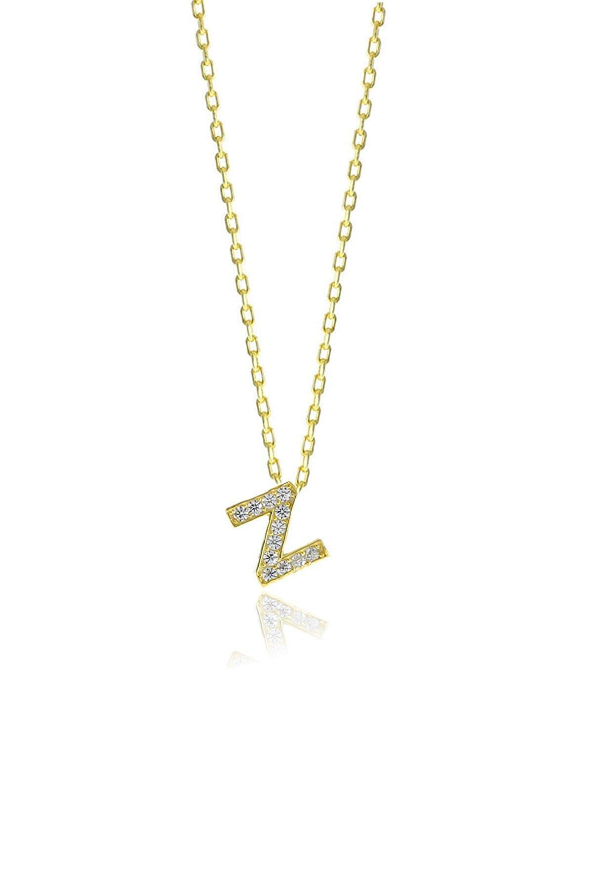 Söğütlü Silver Gümüş  Altın Yaldızlı Üç Boyutlu Minimal Z Gümüş Harf Kolye