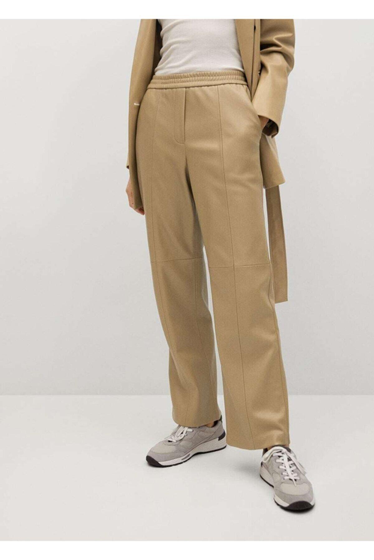 Mango Kadın Zeytin Yeşili Deri Görünümlü Düz Kesim Pantolon