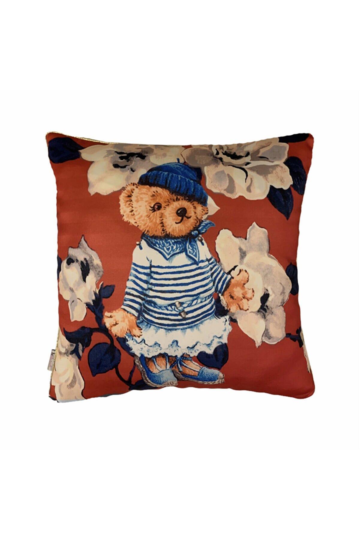 LE MUGUET Teddy Bear Çiçek Desenli Gold Biyeli Kırlent Kılıfı