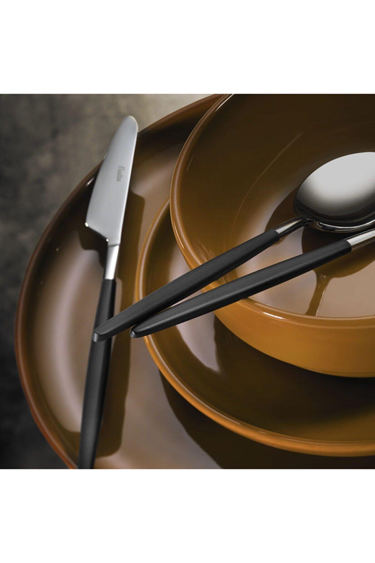 Batta Parlak Siyah Yemek Çatal Kaşık Bıçak Takımı 6 Kişilik 18 Parça  8000 Model