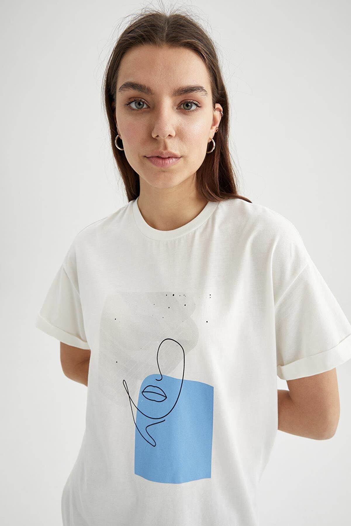 Defacto Baskılı Relax Fit Kısa Kollu Tunik Tişört