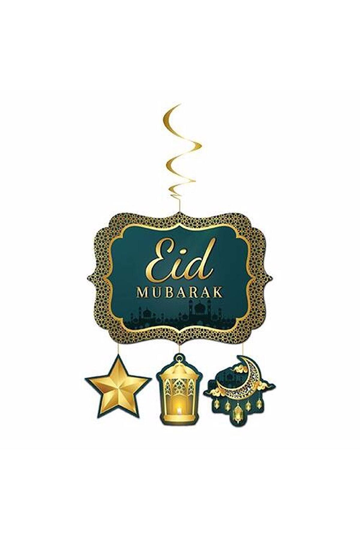 Huzur Party Store Eid Mubarak Yazılı Asmalı Tavan Sarkıt Süsü Muslim Festival Kurban Bayramı 130X33 cm İslami Süs