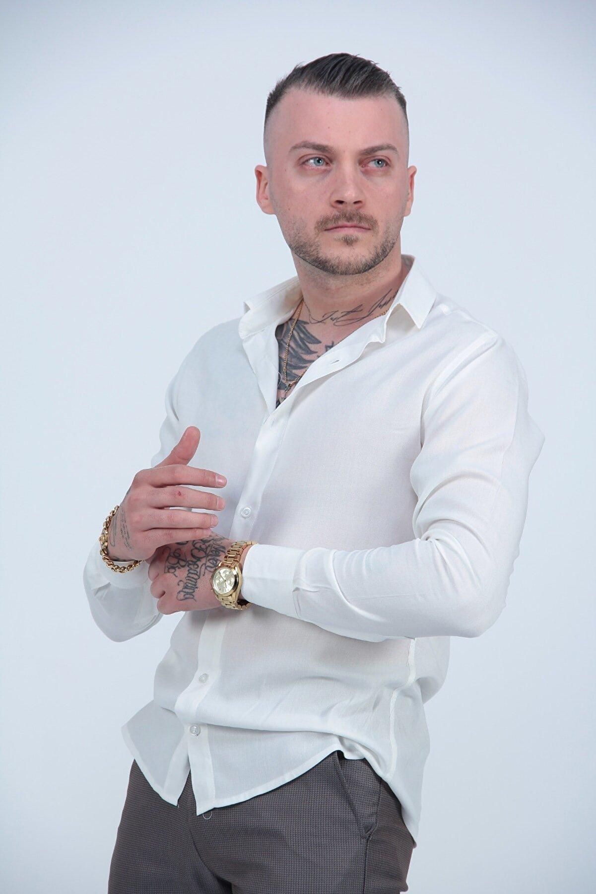 MODAGEN Erkek Beyaz Uzun Kollu Spor Kesim  Gömlek
