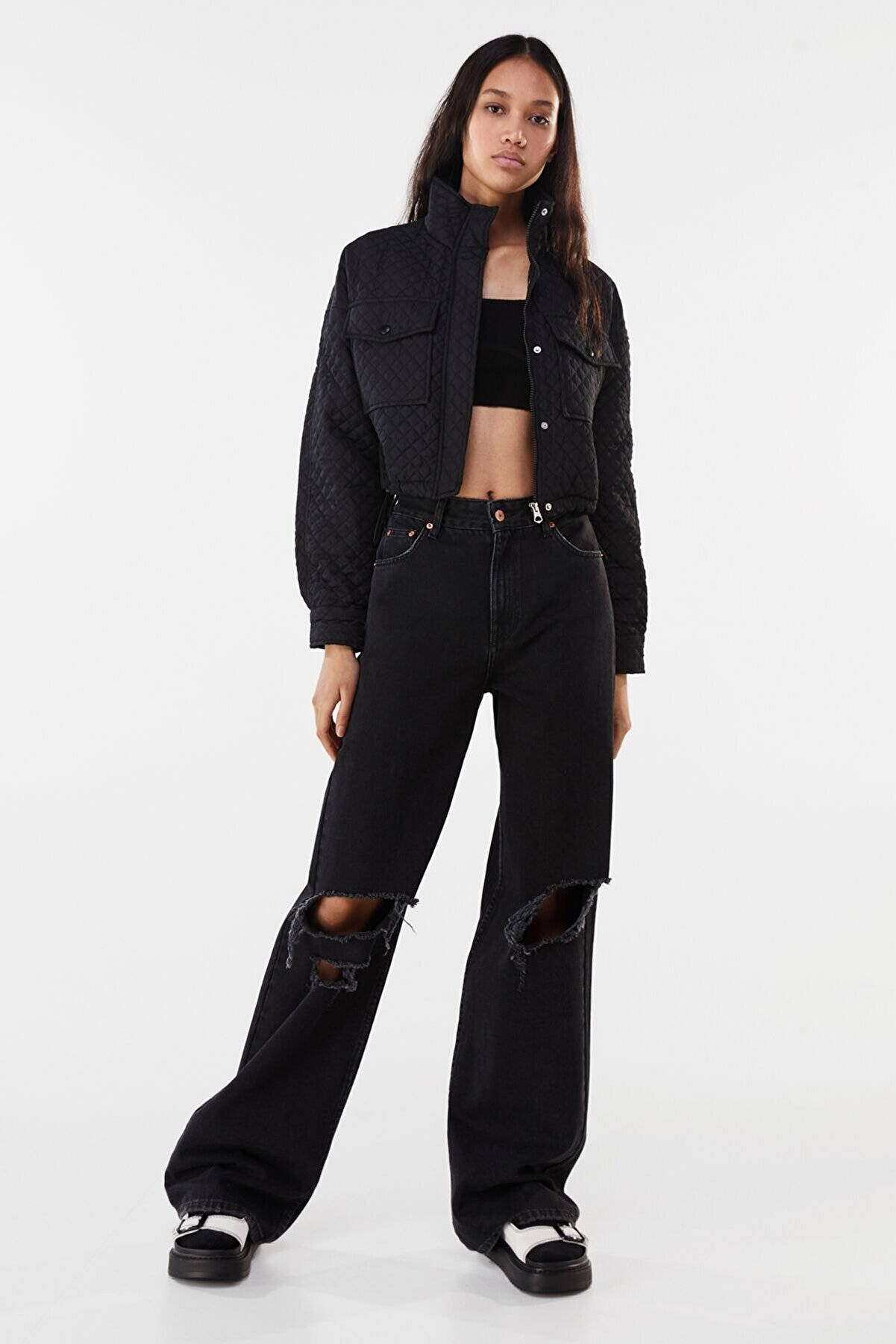 Bershka Kadın Siyah Naylon Crop Ceket