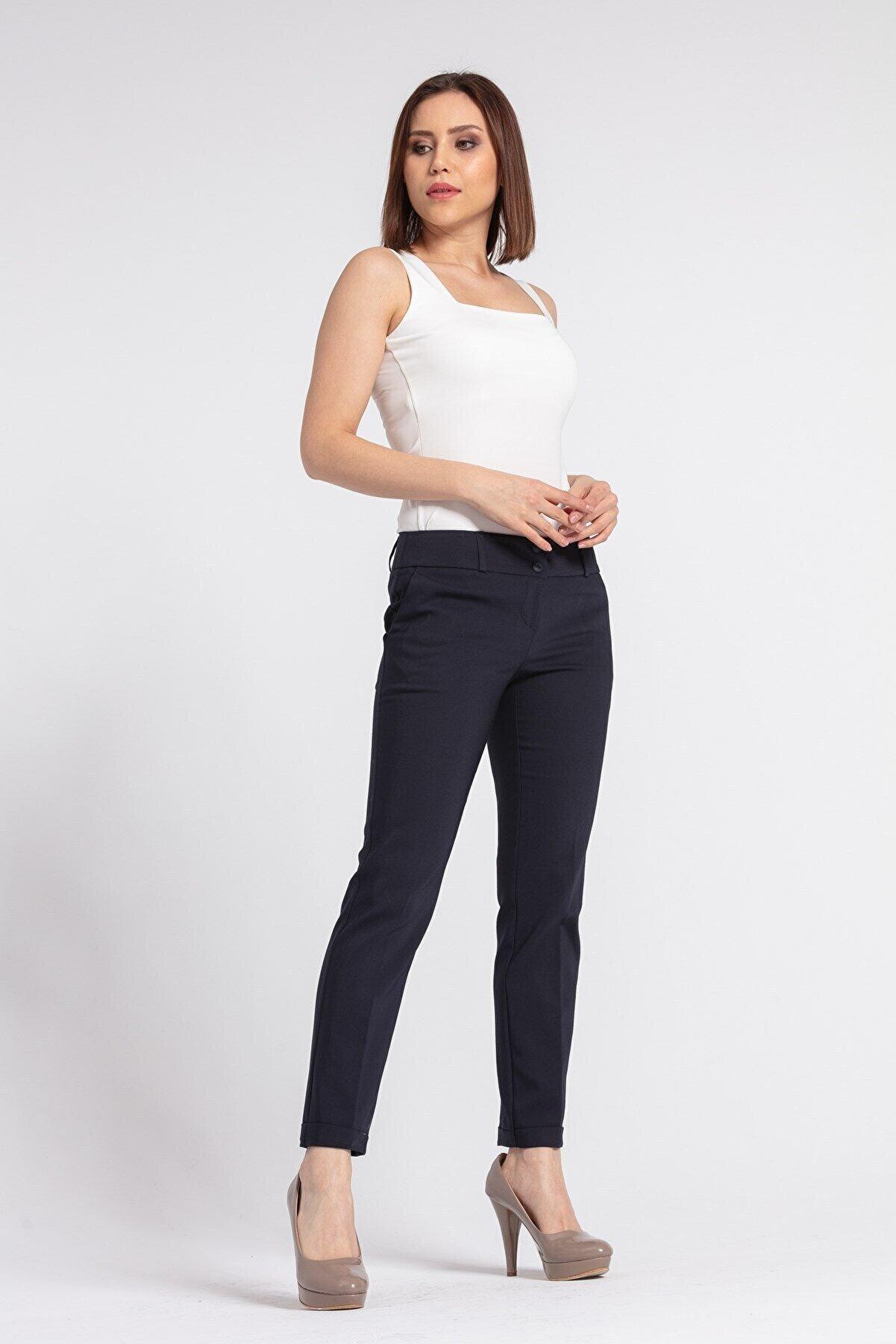 Jument Kadın Hafif Düşük Bel Cepli Duble Paça Ofis Likralı Kumaş Pantolon-lacivert