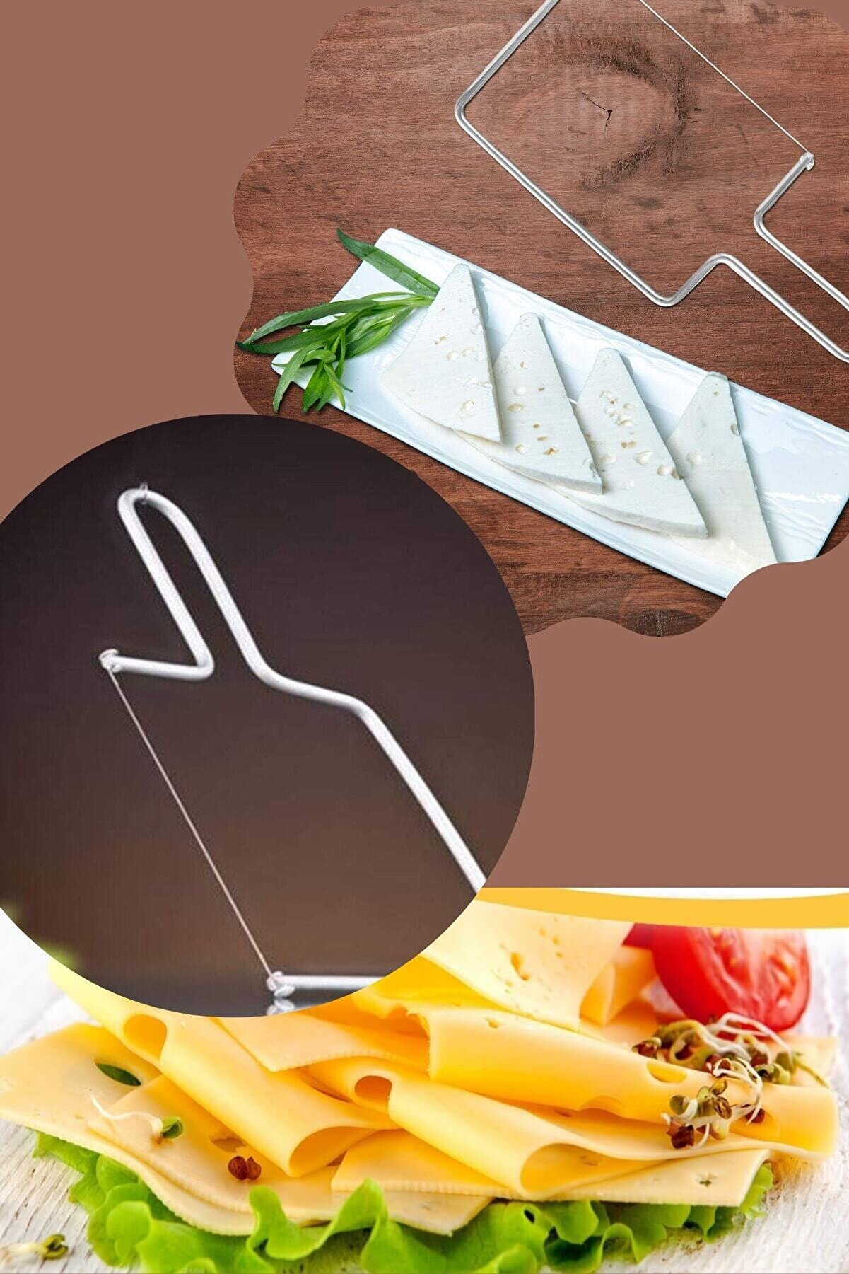 Kitchen Beauty Paslanmaz Peynir Sebze Meyve Dilimleyici + Yedek Kesme Teli