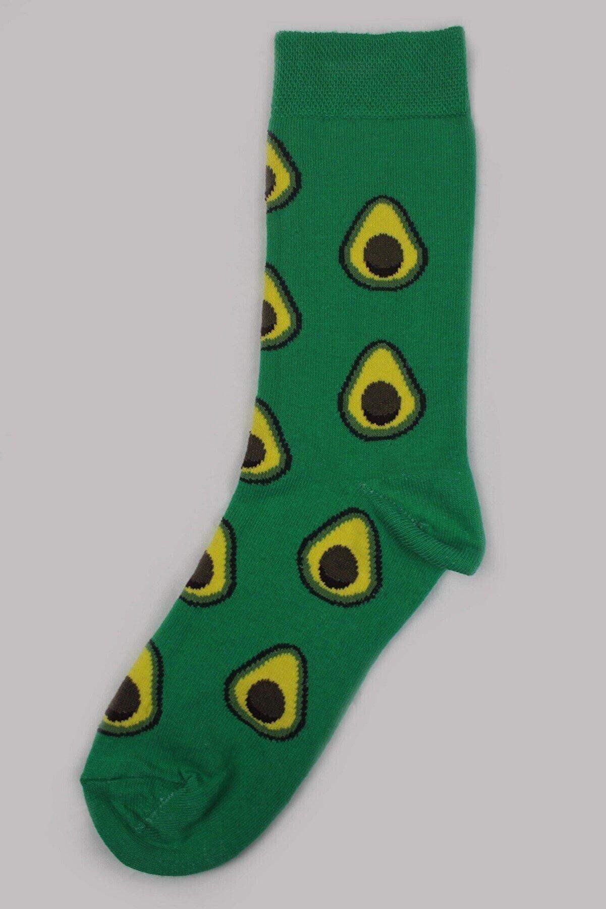 PhenaModa Avokado Desenli Yeşil Çorap