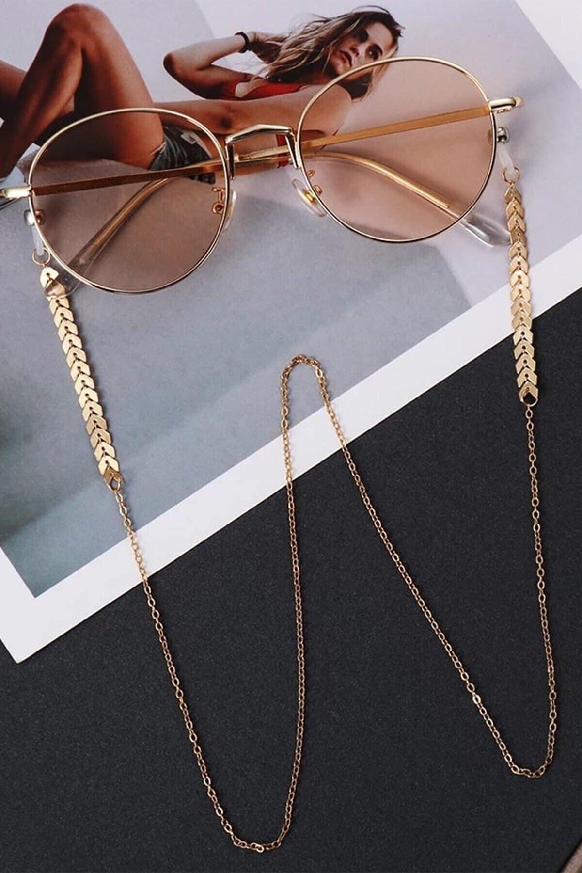 ESUSO Gold Kaplama Kadın Gözlük Zinciri Tutucu 75 Cm