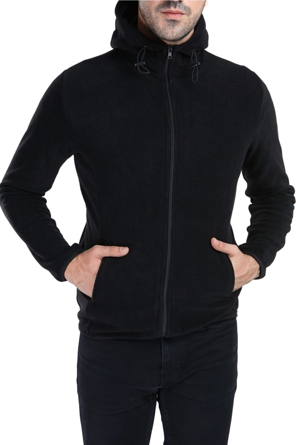Ghassy Co Erkek Siyah Kapüşonlu Polar Ceket