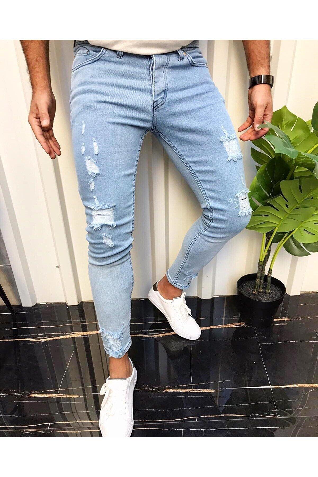 moda biz Erkek Buz Mavi Jean Italyan Kesim Denım Lazerli Skinny Kotpantolon