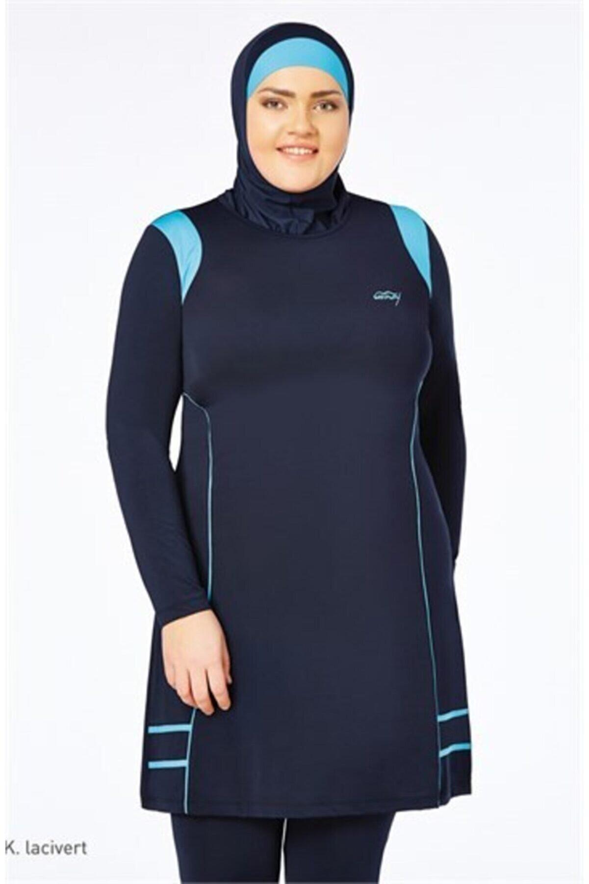 TESMAY Kadın Lacivert Battal Uzun Kol Lycralı Kapalı Elbise Mayo 0133