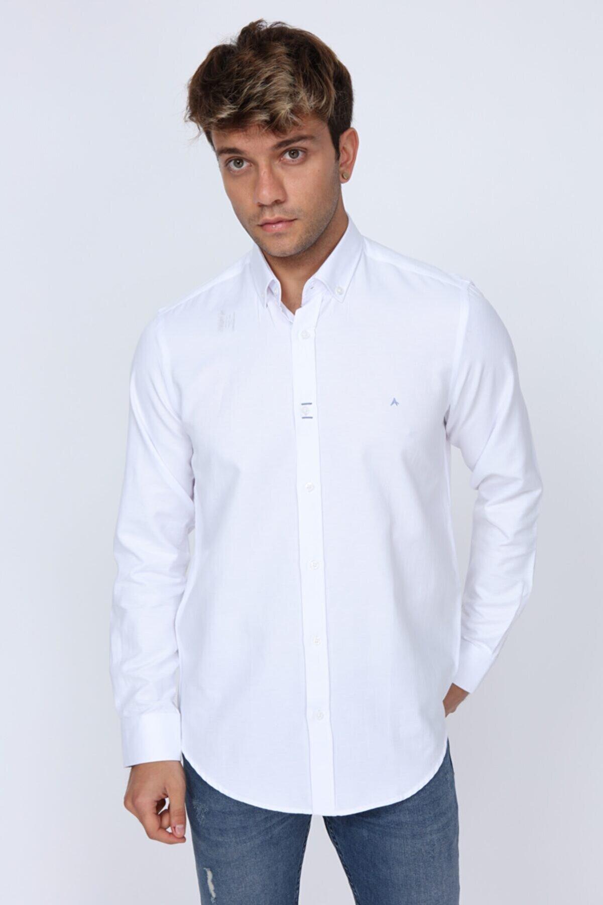 Abbate Mavi Dikiş Detaylı Slim Fit Beyaz Erkek Gömlek
