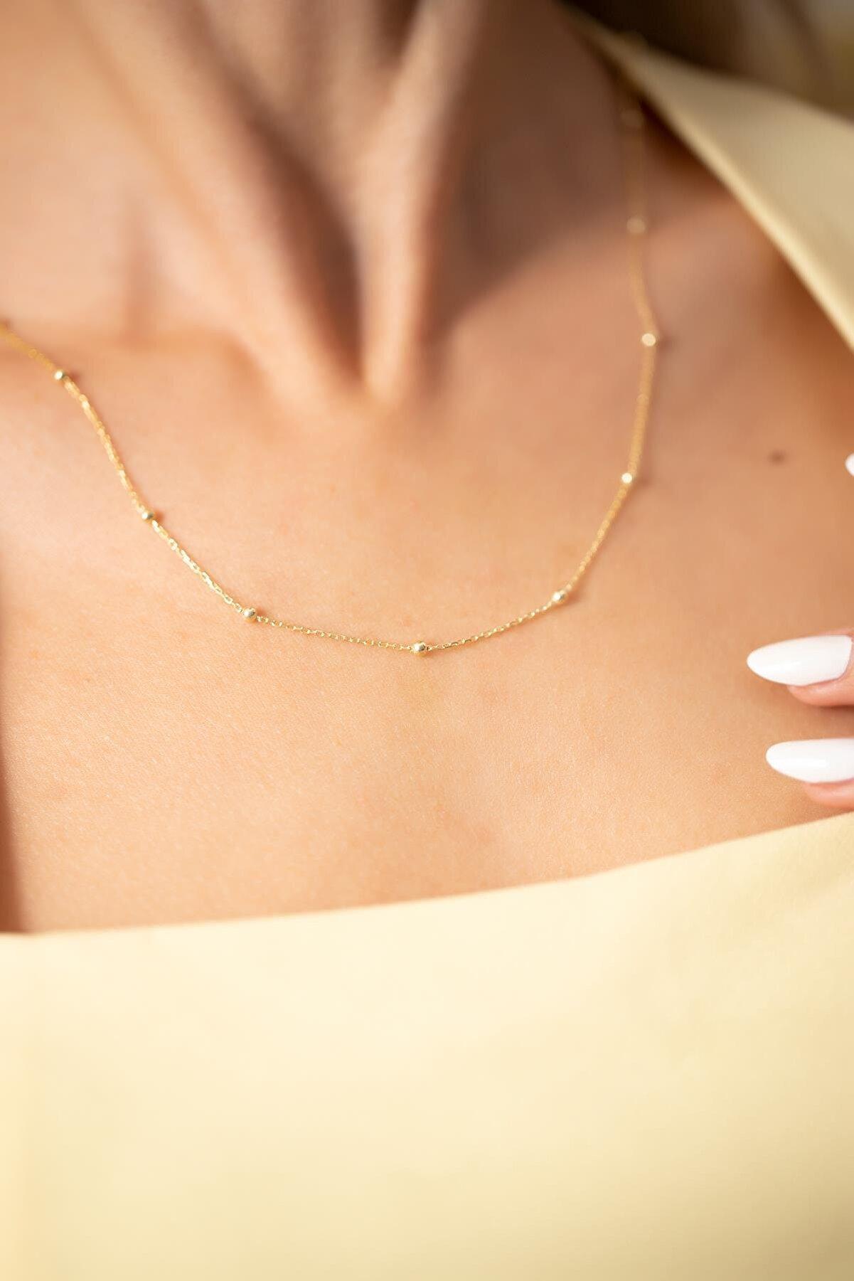 Ninova Silver Toplu Model Altın Kaplama Gümüş Kolye