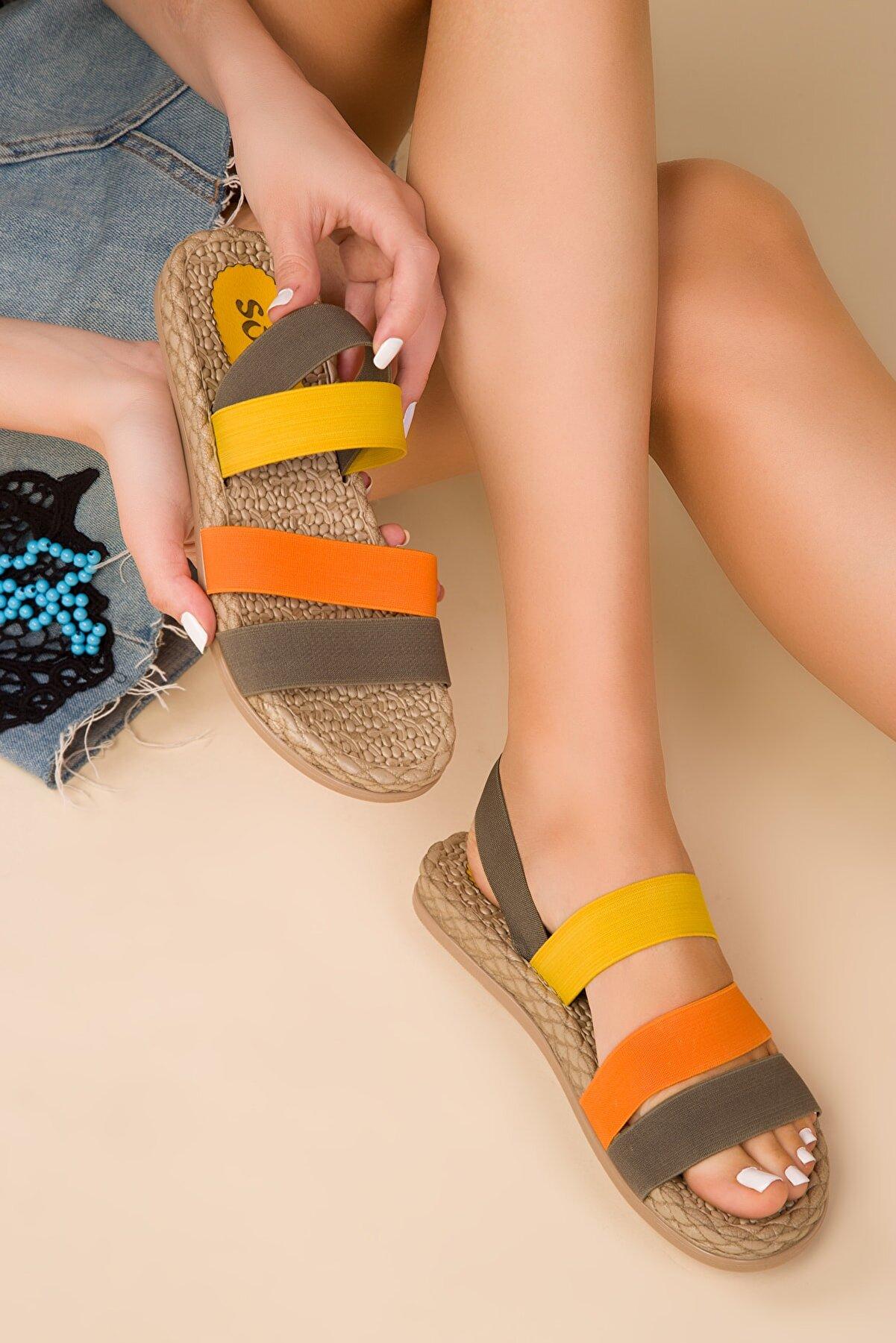 Soho Exclusive Yeşil-Turuncu-Sarı Kadın Sandalet 15098