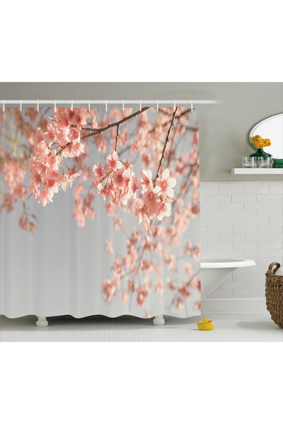 Orange Venue Bitki Duş Perdesi Zarif Bahar Çiçeklerinden Oluşan Duvar Kağıdı