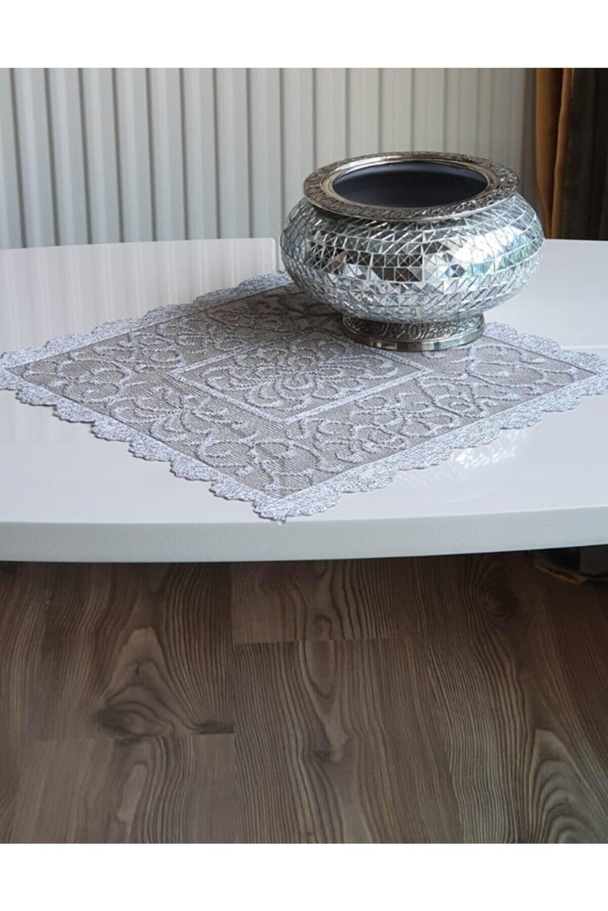WENESSİ Osmanlı Desen Örme Peçete Örtüsü 6 Adet 30x30 (gri)