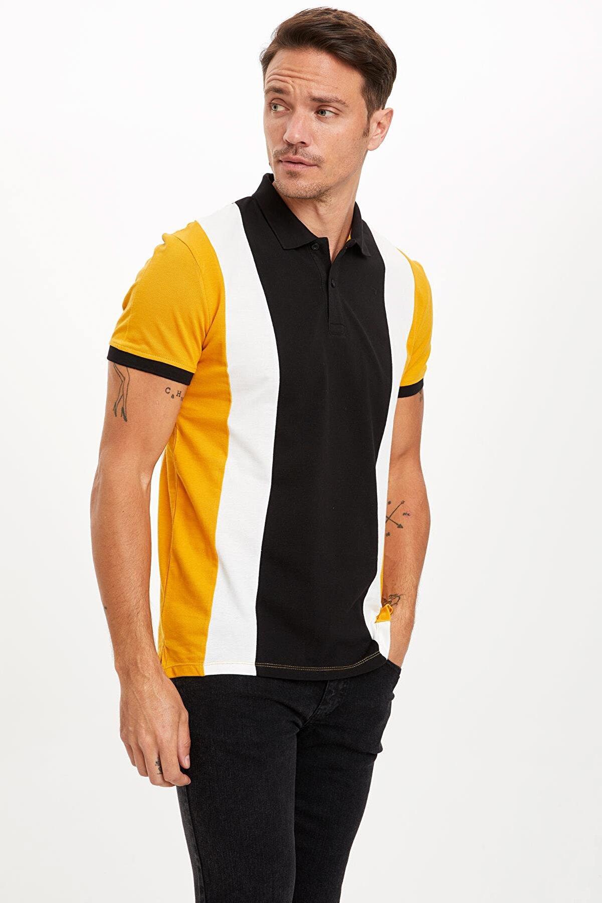 Defacto Slim Fit Polo Yaka Renk Bloklu Kısa Kollu Tişört