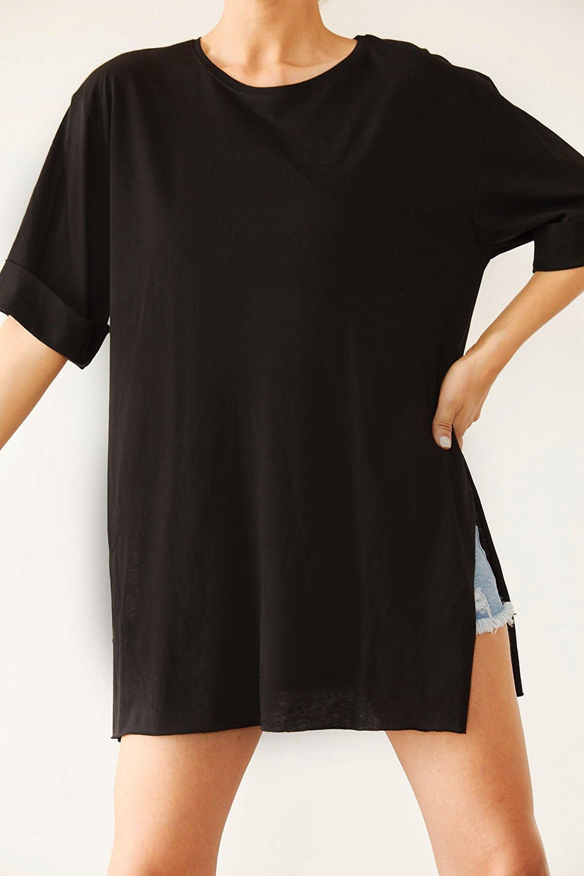 Xena Kadın Siyah Boyfriend Basic Tişört 0YZK1-10343