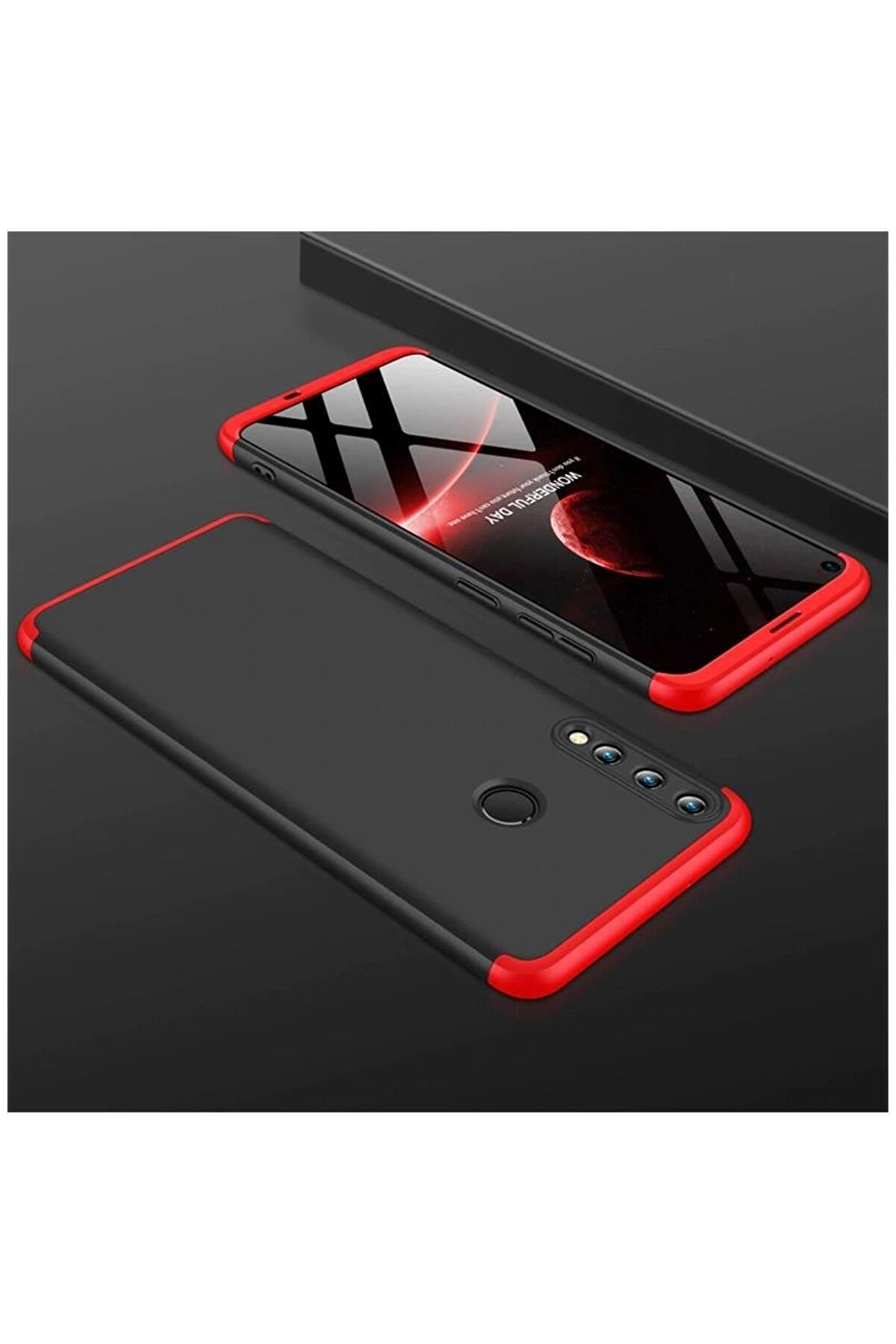 Dara Aksesuar Huawei P40 Lite E Kılıf New 360 Derece Tam Koruma Kılıf Siyah + Kırmızı