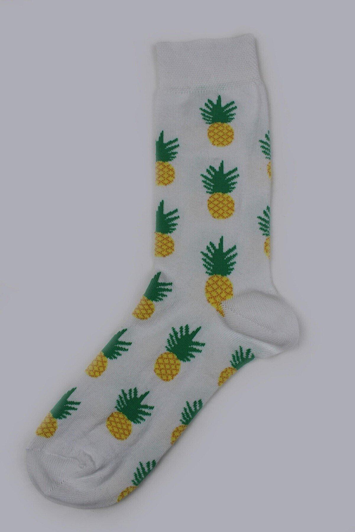 PhenaModa Ananas Desenli Beyaz Çorap