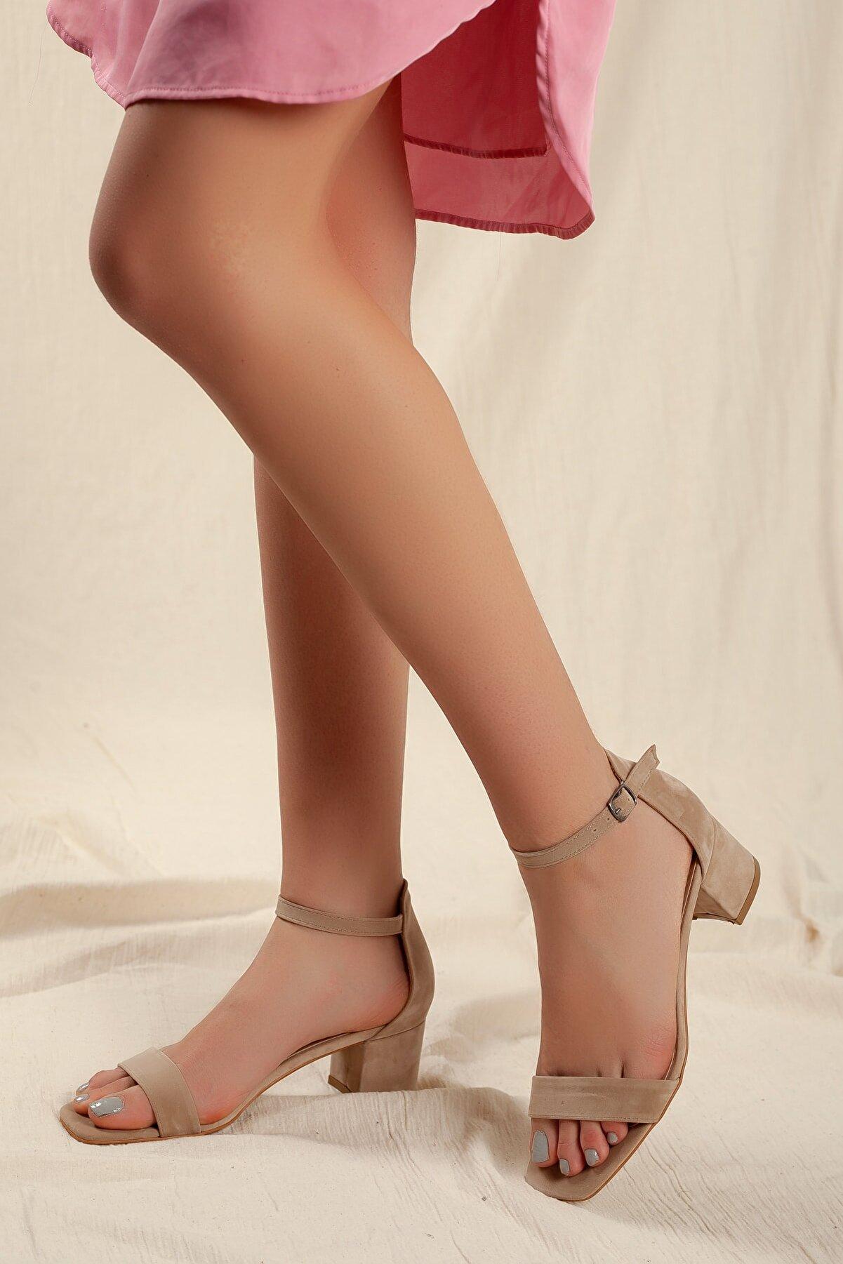 Daxtors Kadın Vizon Süet Tek Bant Klasik Düşük Topuklu Ayakkabı D0225