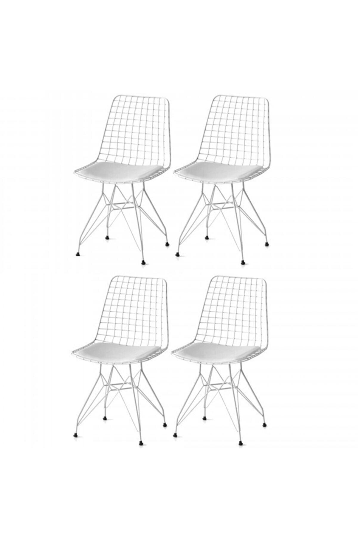 Samasdesing Tel Sandalye Seti (4lü Beyaz)