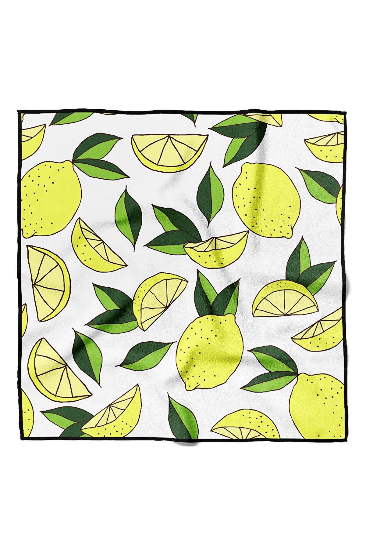 Modabutik Kadın Limon Desenli Bandana 50x50 Sarı Dg0285-22 Snz